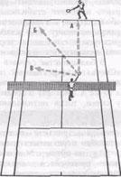 Рис.28. При игре с лёта мяч преимущественно направляется в свободную часть корта