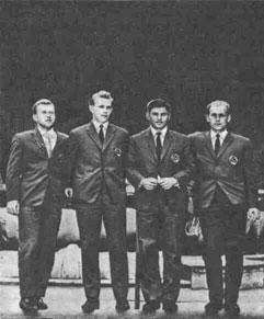 Первая советская команда, выступавшая в розыгрыше Кубка Дэвиса (Р Сивохин, Т. Лейус, С. Лихачев, М. Мозер).